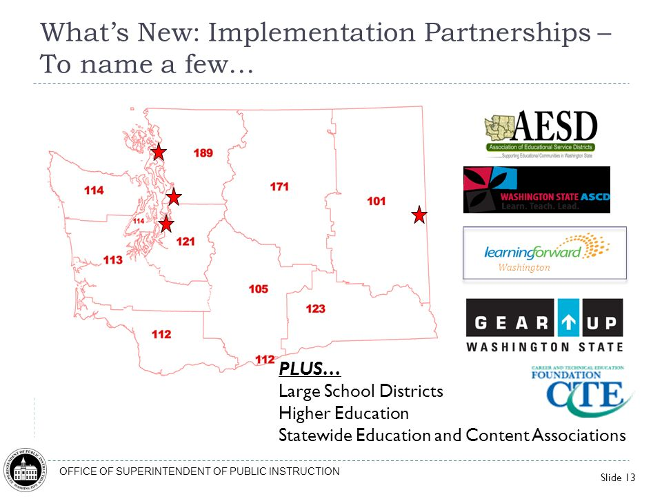 Slide 13 OFFICE OF SUPERINTENDENT OF PUBLIC INSTRUCTION Whats New: Implementation Partnerships – To name a few… PLUS… Large School Districts Higher Ed
