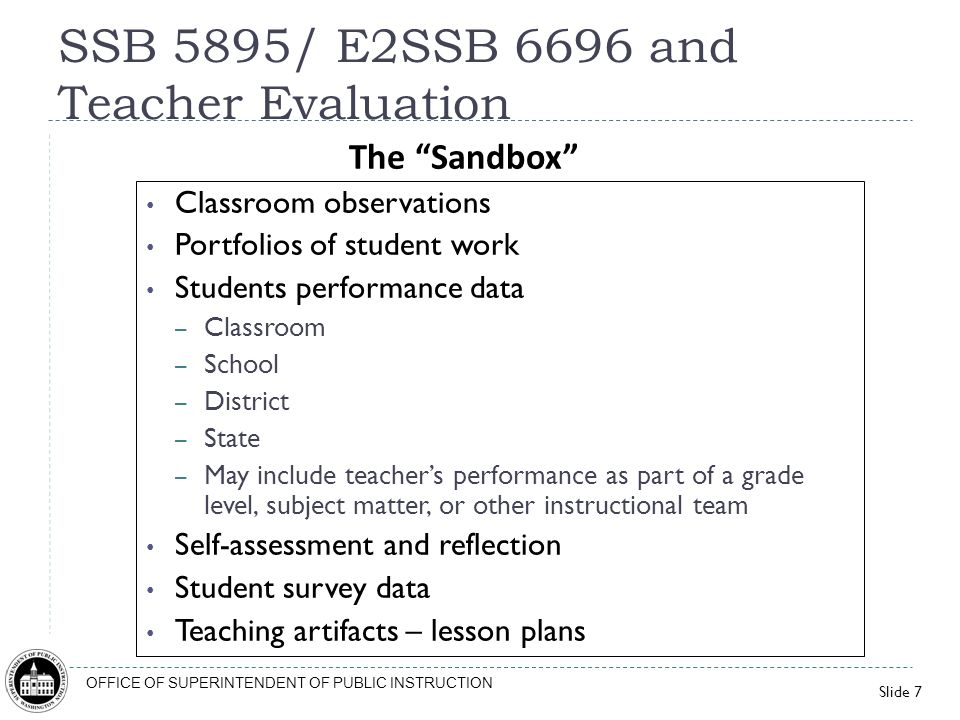 Slide 7 OFFICE OF SUPERINTENDENT OF PUBLIC INSTRUCTION Classroom observations Portfolios of student work Students performance data – Classroom – Schoo