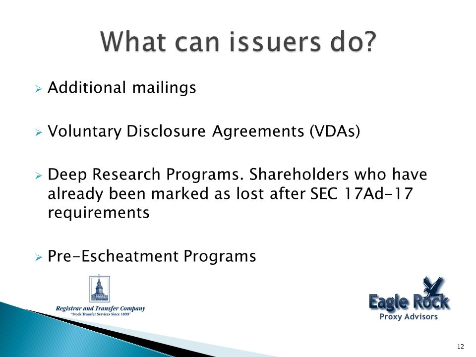 Additional mailings Voluntary Disclosure Agreements (VDAs) Deep Research Programs.