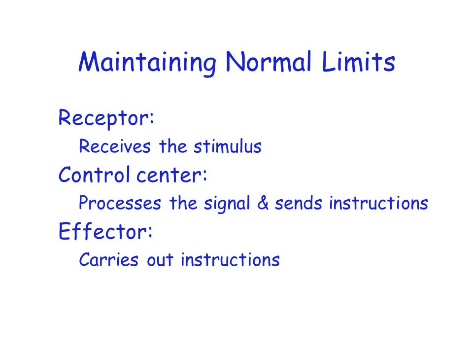Maintaining Normal Limits Receptor: Receives the stimulus Control center: Processes the signal & sends instructions Effector: Carries out instructions
