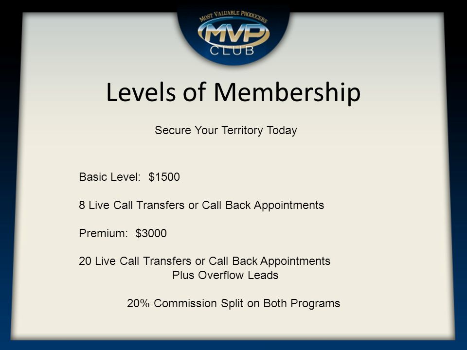Levels of Membership Secure Your Territory Today Basic Level: $1500 8 Live Call Transfers or Call Back Appointments Premium: $3000 20 Live Call Transfers or Call Back Appointments Plus Overflow Leads 20% Commission Split on Both Programs