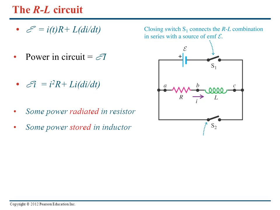 Copyright © 2012 Pearson Education Inc. The R-L circuit E = i(t)R+ L(di/dt) Power in circuit = E I E i = i 2 R+ Li(di/dt) Some power radiated in resis