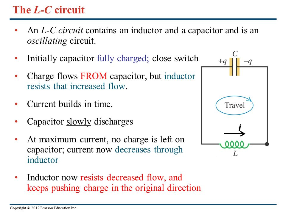 Copyright © 2012 Pearson Education Inc. The L-C circuit An L-C circuit contains an inductor and a capacitor and is an oscillating circuit. Initially c