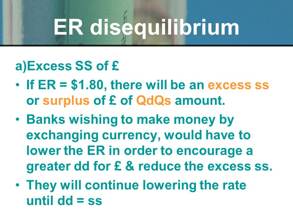 a)Excess SS of £ If ER = $1.80, there will be an excess ss or surplus of £ of QdQs amount.