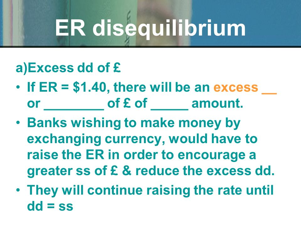 a)Excess dd of £ If ER = $1.40, there will be an excess __ or ________ of £ of _____ amount.