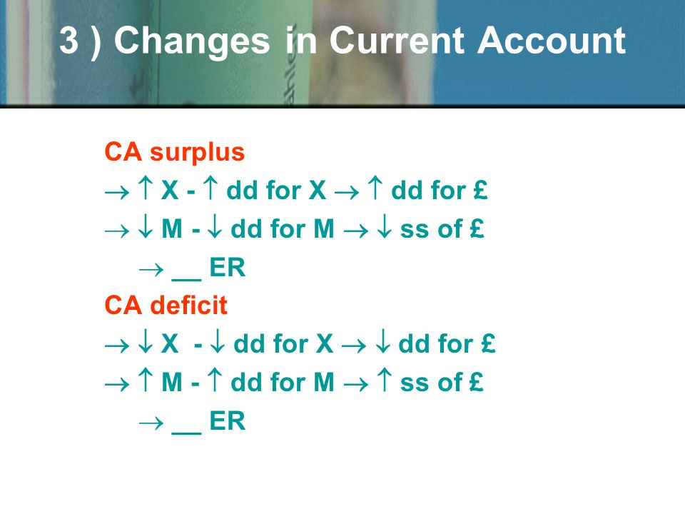 CA surplus X - dd for X dd for £ M - dd for M ss of £ _ _ ER CA deficit X - dd for X dd for £ M - dd for M ss of £ _ _ ER 3 ) Changes in Current Account