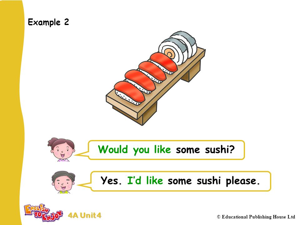 4A Unit 4 © Educational Publishing House Ltd Example 2 Would you like some sushi.