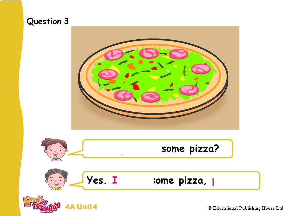 4A Unit 4 © Educational Publishing House Ltd Question 3 Would you like some pizza.