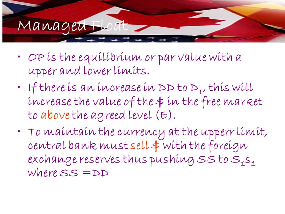 OP is the equilibrium or par value with a upper and lower limits. If there is an increase in DD to D 1, this will increase the value of the $ in the f