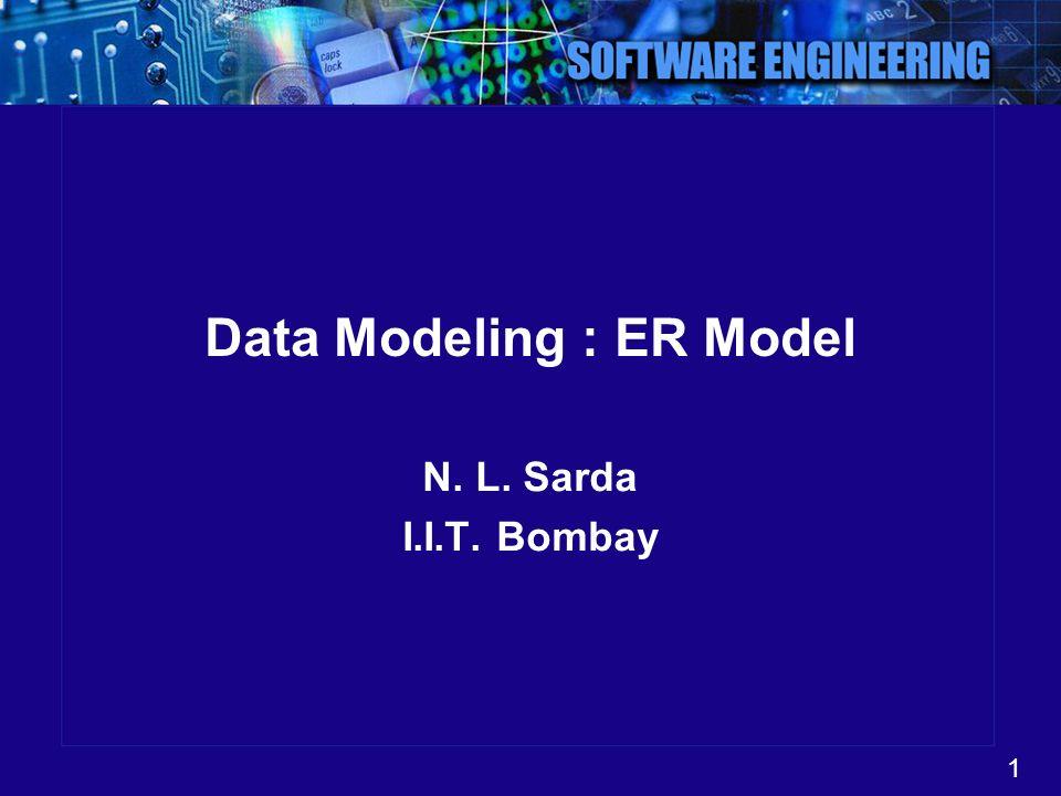 1 Data Modeling : ER Model N. L. Sarda I.I.T. Bombay