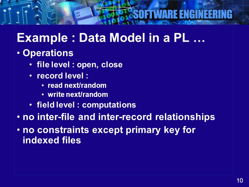 10 Example : Data Model in a PL … Operations file level : open, close record level : read next/random write next/random field level : computations no