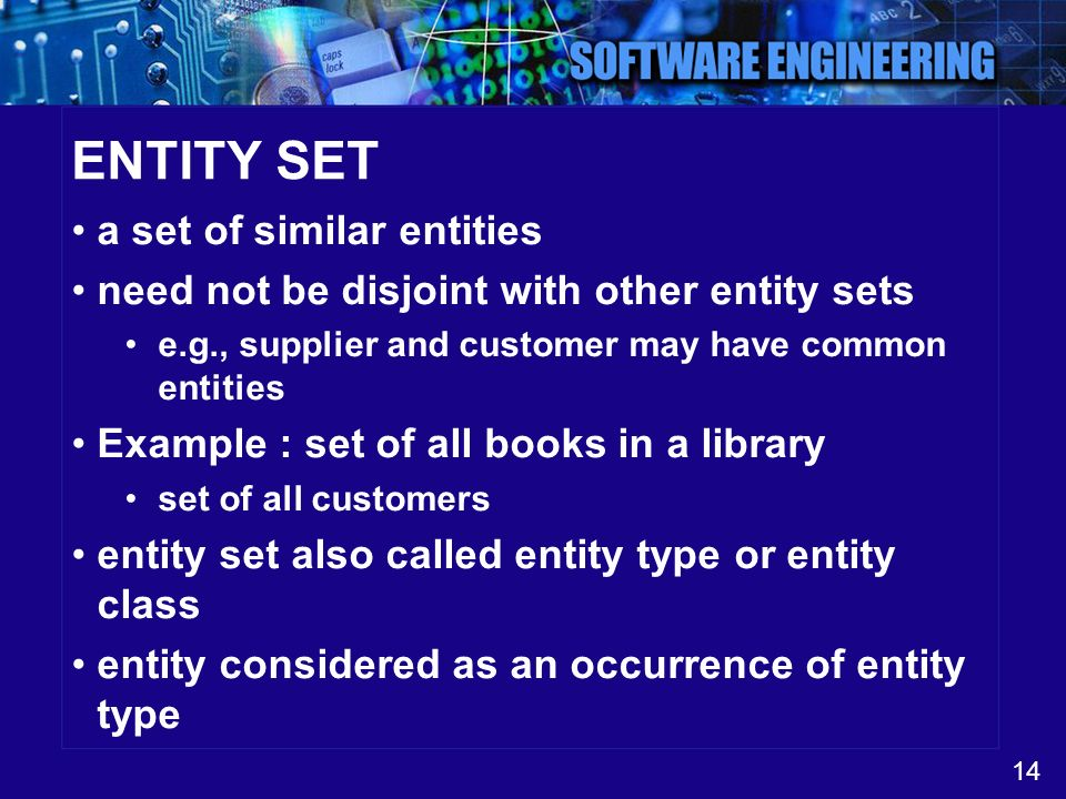 14 ENTITY SET a set of similar entities need not be disjoint with other entity sets e.g., supplier and customer may have common entities Example : set