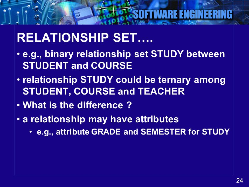 24 RELATIONSHIP SET…. e.g., binary relationship set STUDY between STUDENT and COURSE relationship STUDY could be ternary among STUDENT, COURSE and TEA