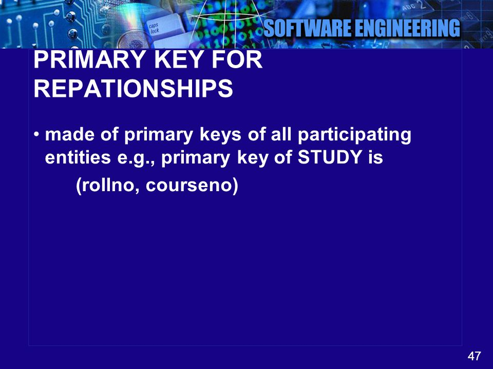 47 PRIMARY KEY FOR REPATIONSHIPS made of primary keys of all participating entities e.g., primary key of STUDY is (rollno, courseno)