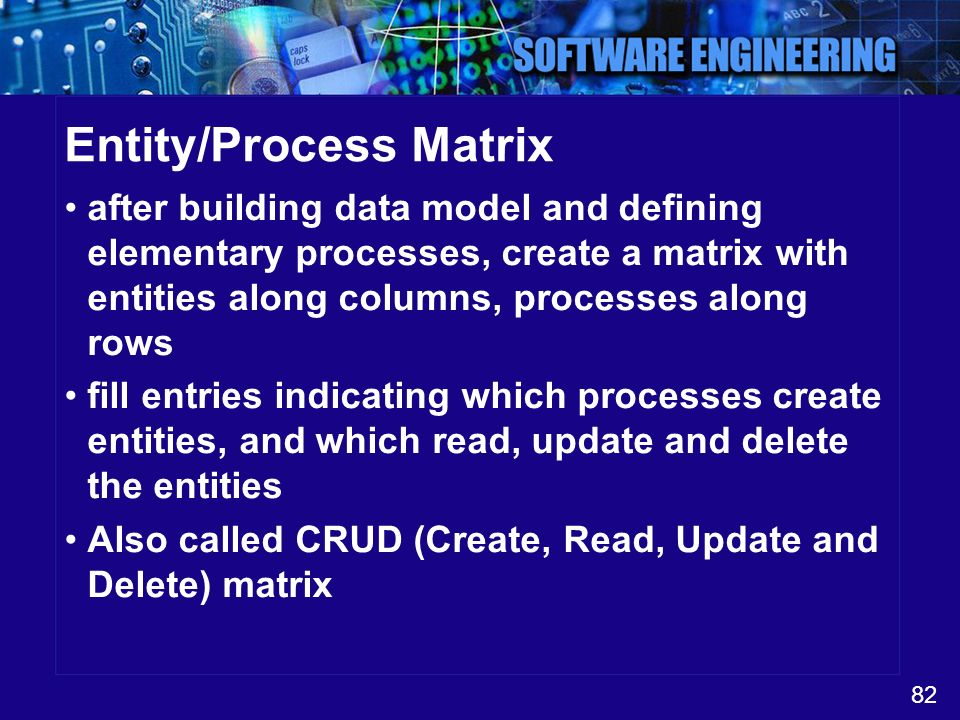 82 Entity/Process Matrix after building data model and defining elementary processes, create a matrix with entities along columns, processes along row