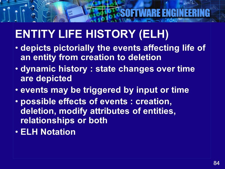 84 ENTITY LIFE HISTORY (ELH) depicts pictorially the events affecting life of an entity from creation to deletion dynamic history : state changes over