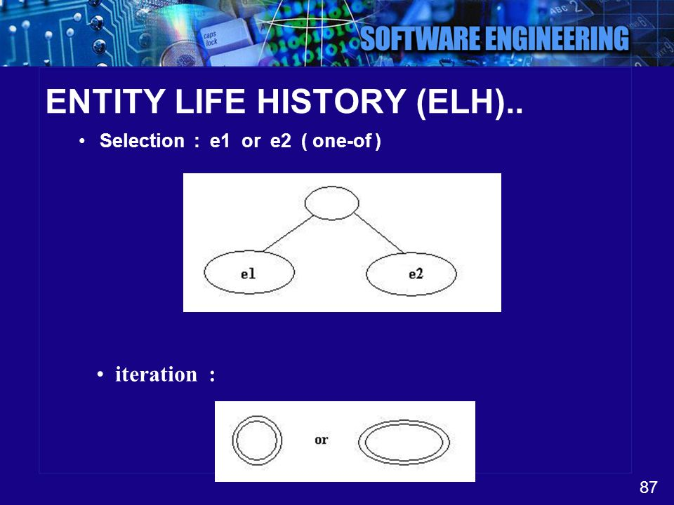 87 ENTITY LIFE HISTORY (ELH).. Selection : e1 or e2 ( one-of ) iteration :