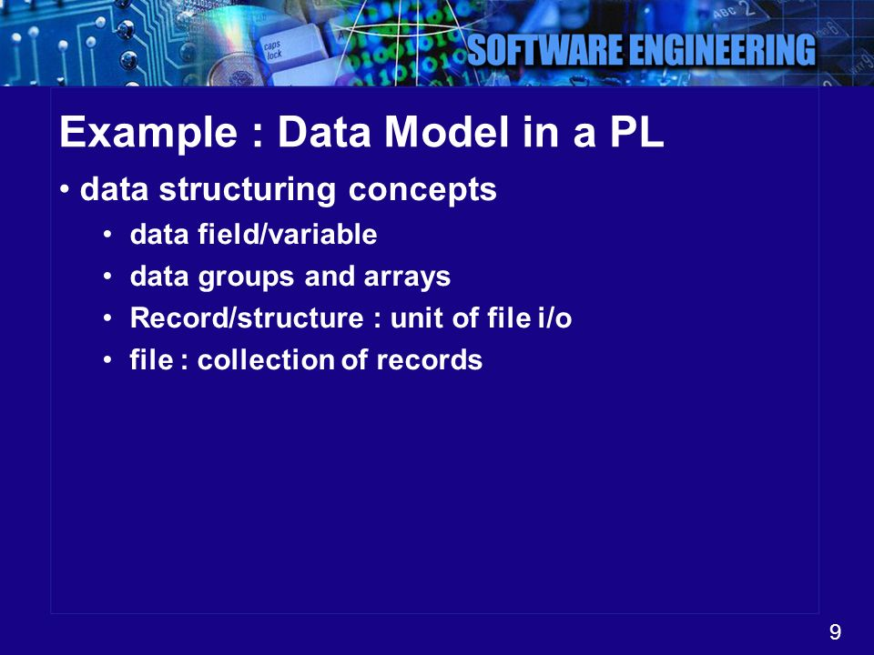 9 Example : Data Model in a PL data structuring concepts data field/variable data groups and arrays Record/structure : unit of file i/o file : collect