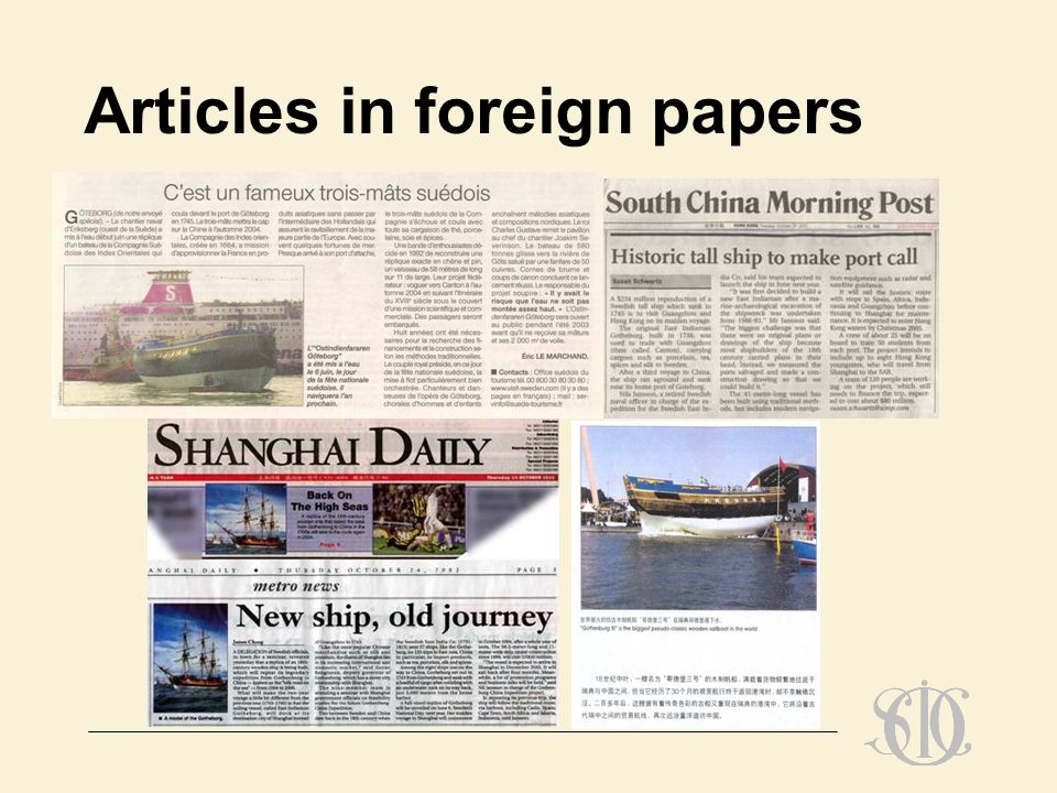 Articles in foreign papers