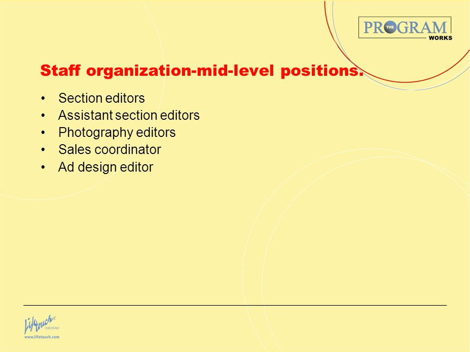Staff organization-mid-level positions.