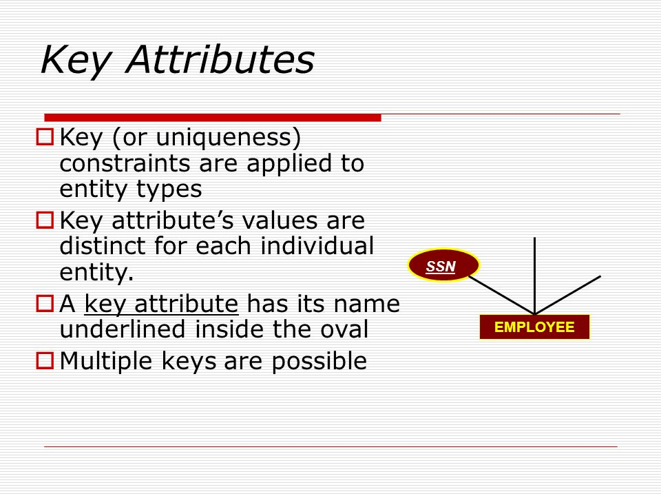 Key Attributes Key (or uniqueness) constraints are applied to entity types Key attributes values are distinct for each individual entity. A key attrib