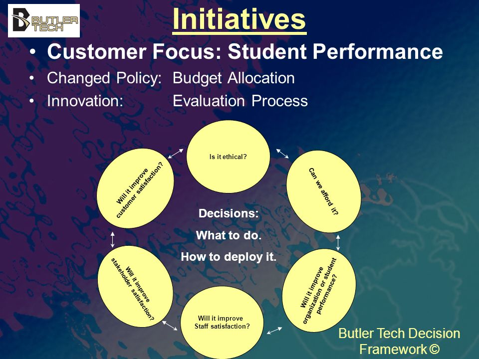 Initiatives Customer Focus: Student Performance Changed Policy: Budget Allocation Innovation: Evaluation Process Butler Tech Decision Framework © Will