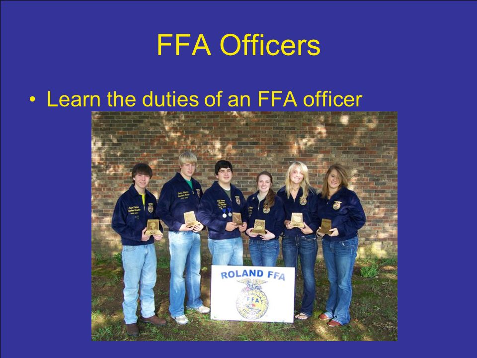 FFA Officers Learn the duties of an FFA officer