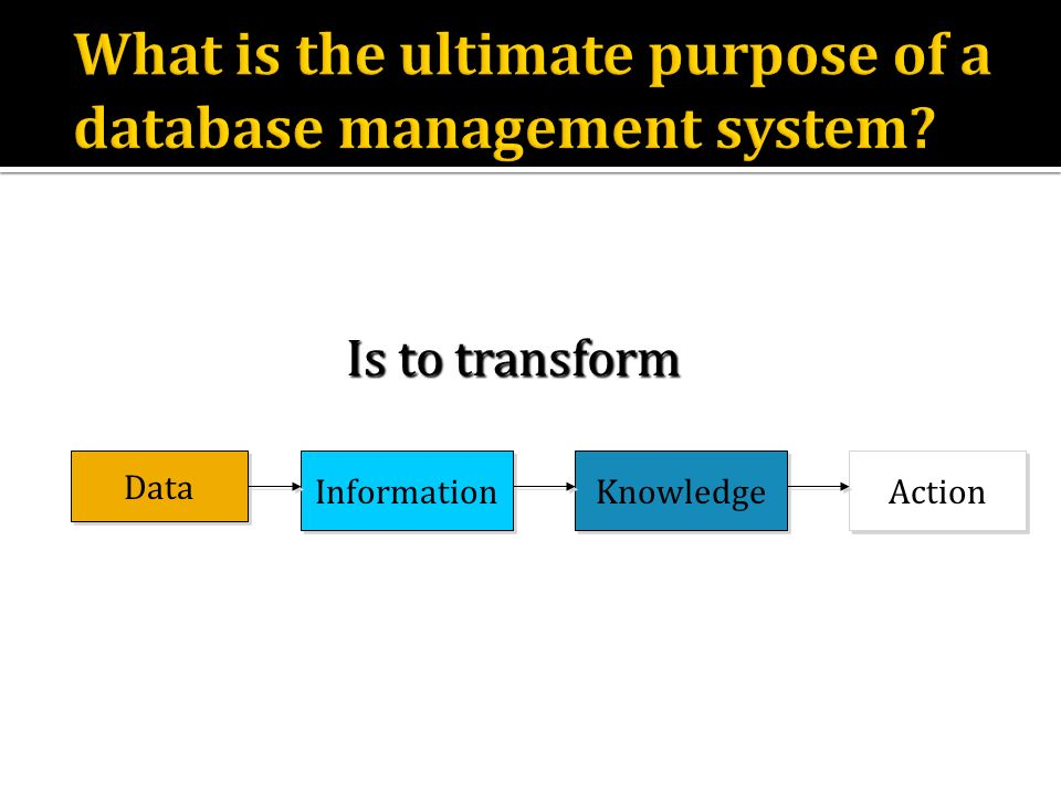 Data Information Knowledge Action Is to transform