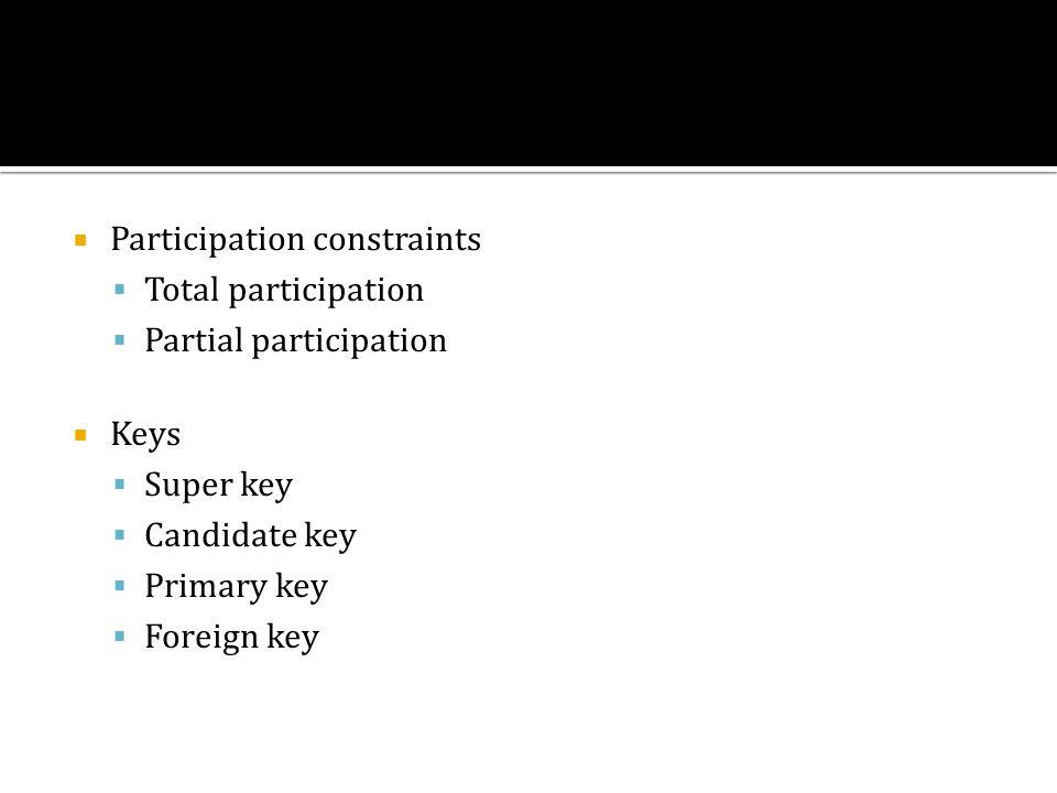 Participation constraints Total participation Partial participation Keys Super key Candidate key Primary key Foreign key