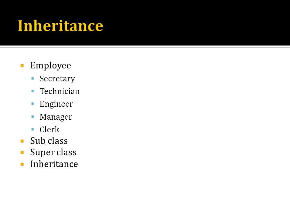 Employee Secretary Technician Engineer Manager Clerk Sub class Super class Inheritance