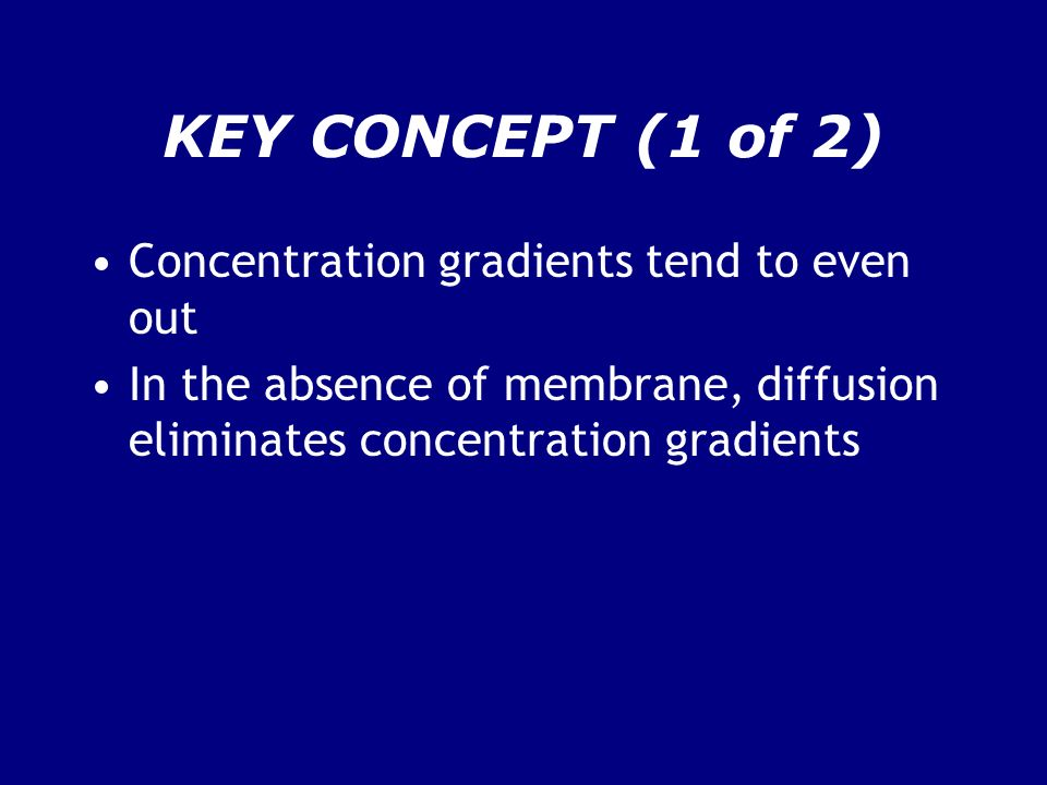 KEY CONCEPT (1 of 2) Concentration gradients tend to even out In the absence of membrane, diffusion eliminates concentration gradients