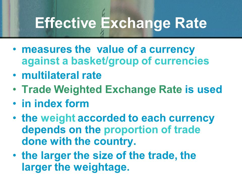 The weights of the currencies of various countries in the sterling exchange rate index