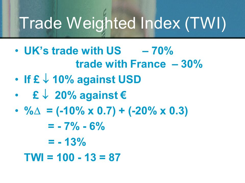 Trade Weighted Index (TWI) UKs trade with US – 70% trade with France – 30% If £ 10% against USD £ 20% against % = (-10% x 0.7) + (-20% x 0.3) = - 7% -