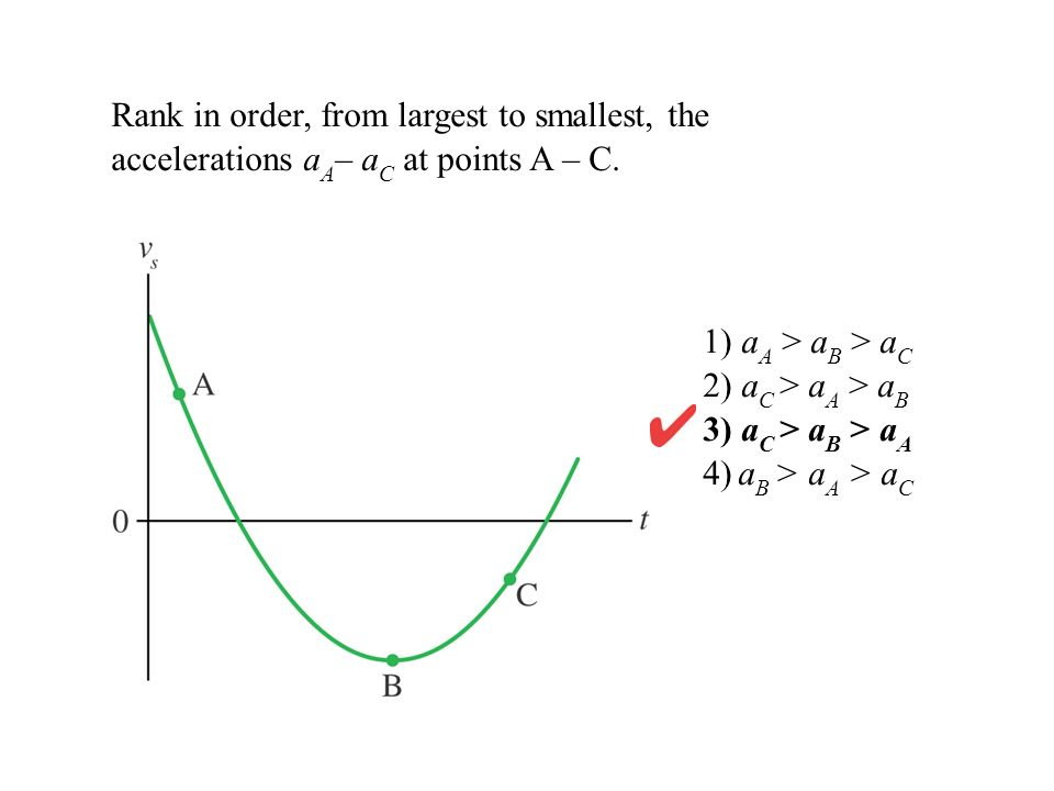 Rank in order, from largest to smallest, the accelerations a A – a C at points A – C. 1) a A > a B > a C 2) a C > a A > a B 3) a C > a B > a A 4) a B