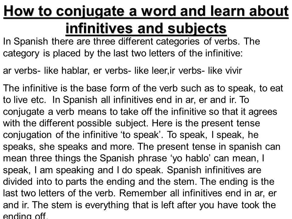 How to conjugate a word and learn about infinitives and subjects In Spanish there are three different categories of verbs. The category is placed by t