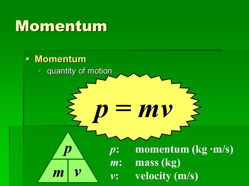 Momentum Momentum Momentum quantity of motion quantity of motion p = mv p:momentum (kg ·m/s) m:mass (kg) v:velocity (m/s) m p v