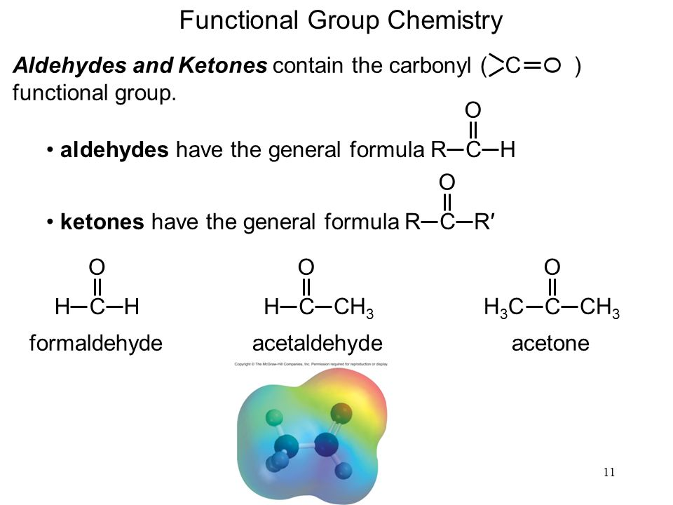 11 Functional Group Chemistry Aldehydes and Ketones contain the carbonyl ( ) functional group. O C R C H O aldehydes have the general formulaR C R O k