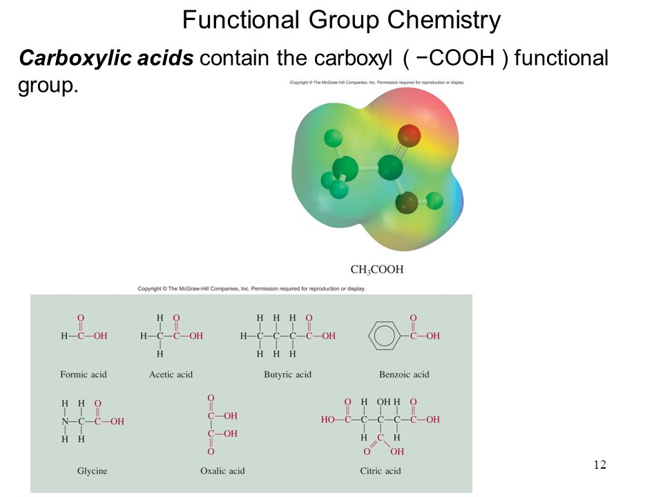 12 Functional Group Chemistry Carboxylic acids contain the carboxyl ( COOH ) functional group.