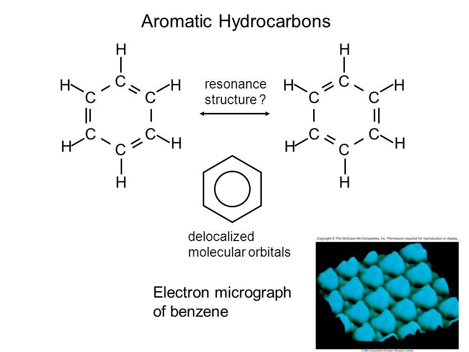 2 Aromatic Hydrocarbons C C C CC C H H H H H H C C C CC C H H H H H H Electron micrograph of benzene resonance structure ? delocalized molecular orbit