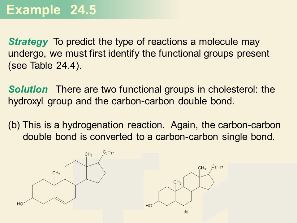 Example 20 24.5 Strategy To predict the type of reactions a molecule may undergo, we must first identify the functional groups present (see Table 24.4