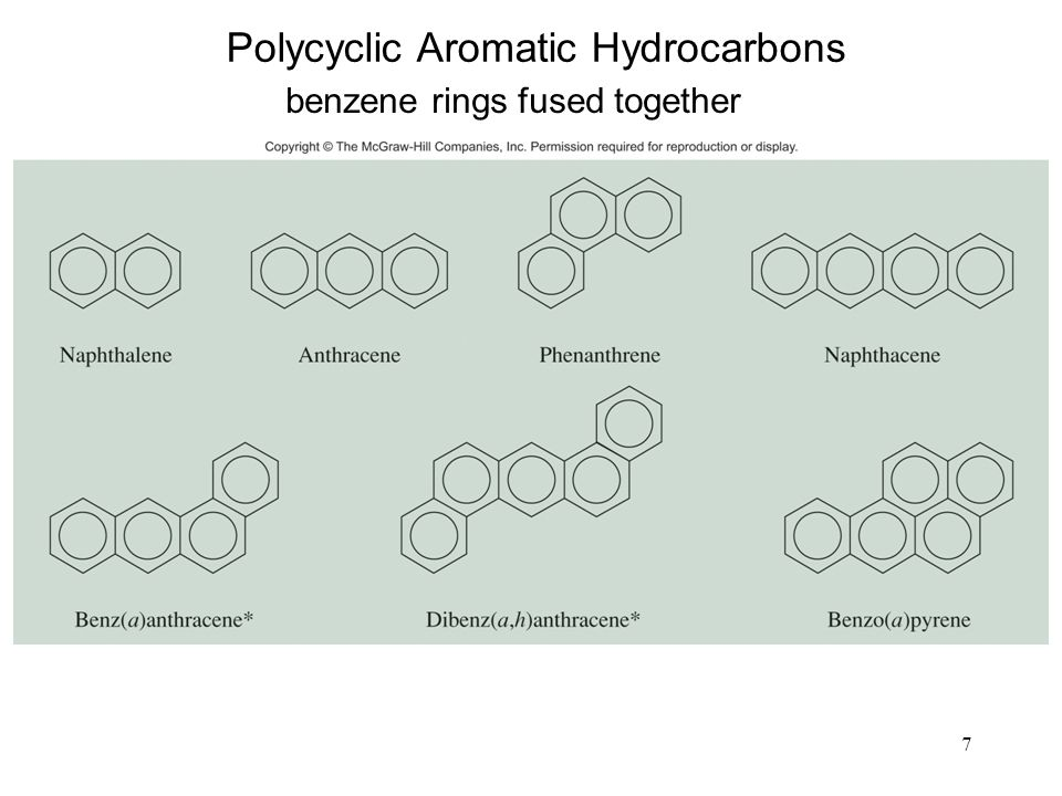 7 Polycyclic Aromatic Hydrocarbons benzene rings fused together