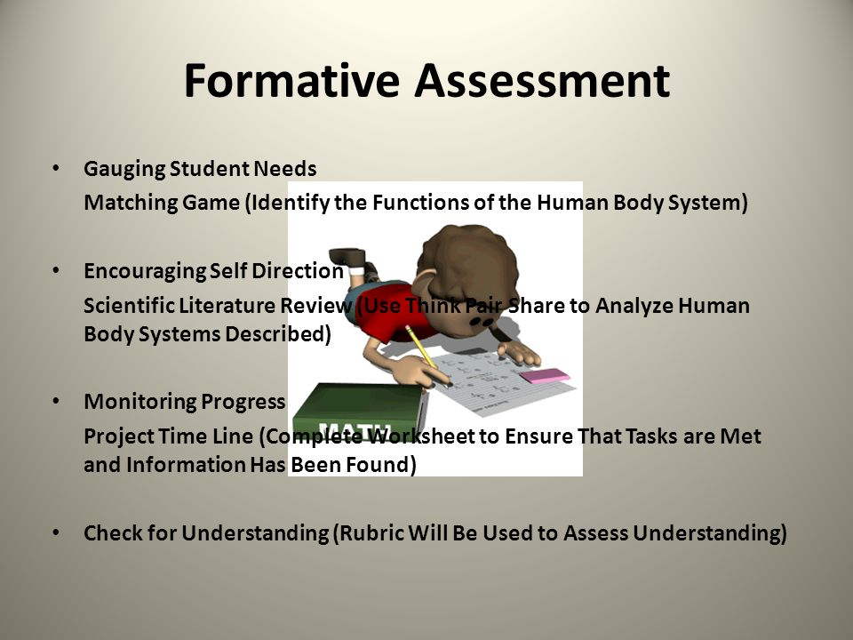Formative Assessment Gauging Student Needs Matching Game (Identify the Functions of the Human Body System) Encouraging Self Direction Scientific Liter