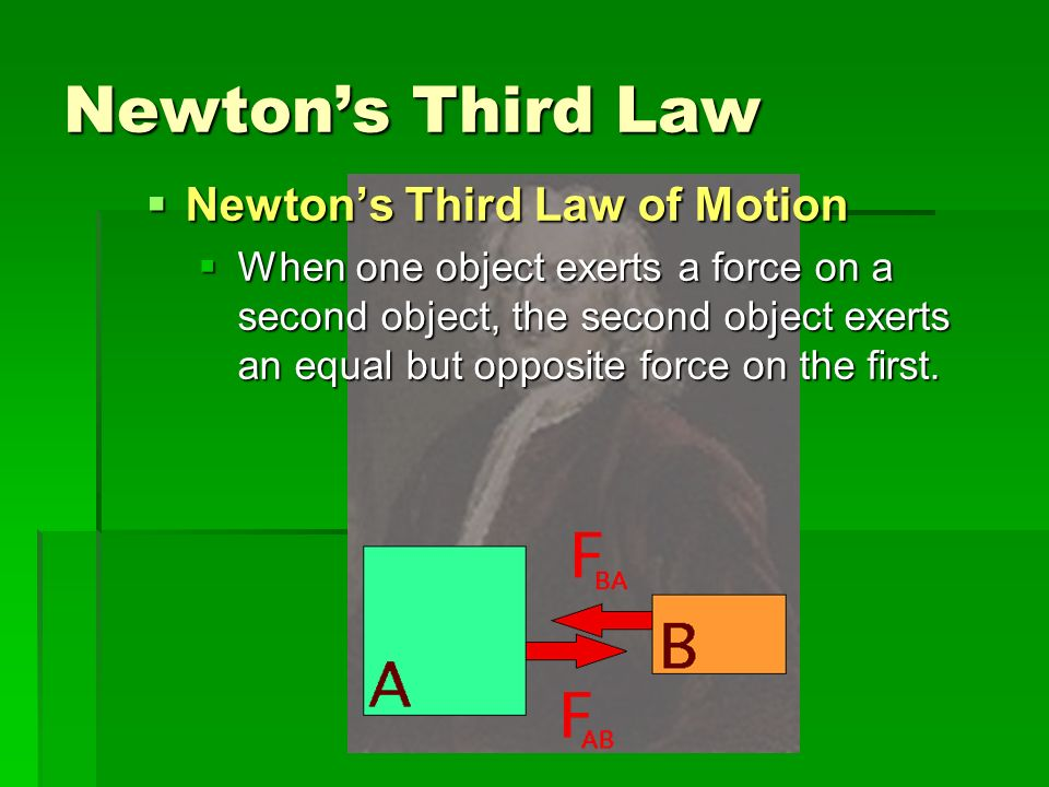 Newtons Third Law Newtons Third Law of Motion Newtons Third Law of Motion When one object exerts a force on a second object, the second object exerts