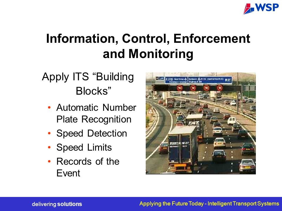 delivering solutions Applying the Future Today - Intelligent Transport Systems Information, Control, Enforcement and Monitoring Apply ITS Building Blo