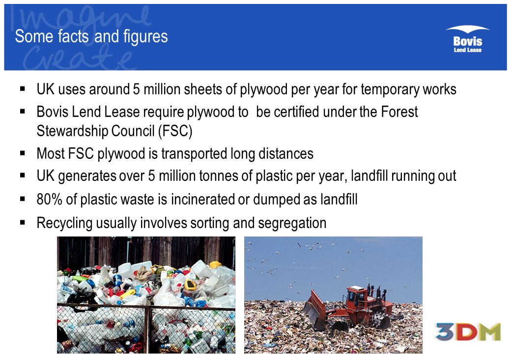 Some facts and figures UK uses around 5 million sheets of plywood per year for temporary works Bovis Lend Lease require plywood to be certified under