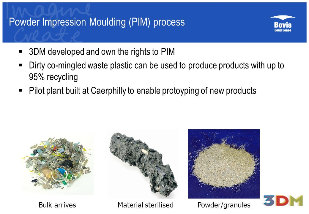 Powder Impression Moulding (PIM) process 3DM developed and own the rights to PIM Dirty co-mingled waste plastic can be used to produce products with u