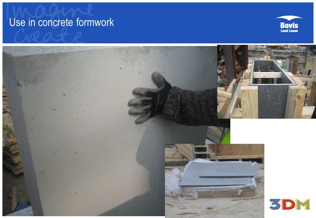 Use in concrete formwork
