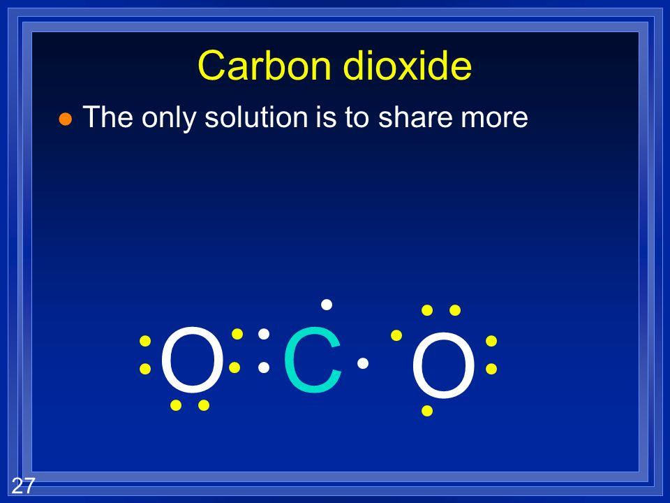 27 Carbon dioxide l The only solution is to share more O CO