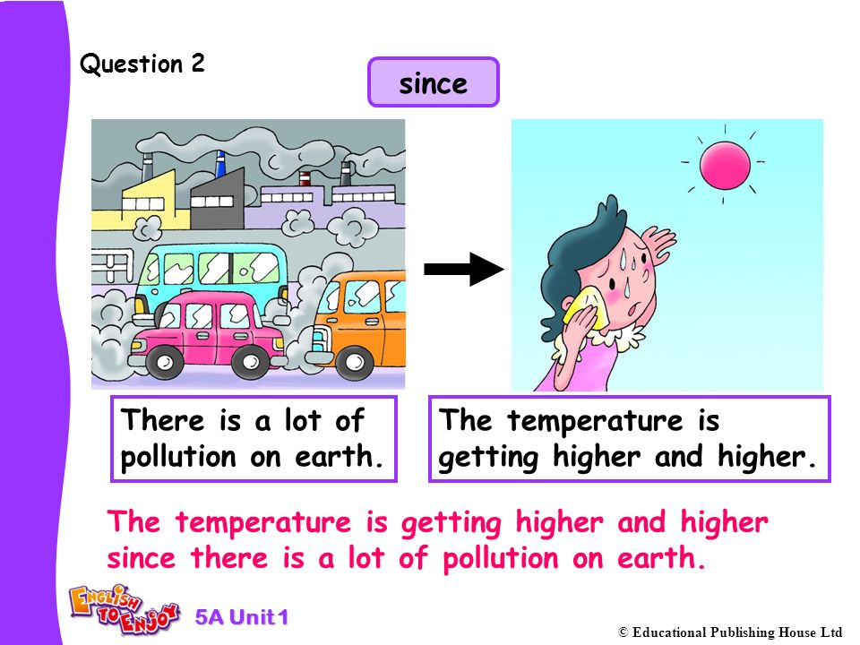 5A Unit 1 © Educational Publishing House Ltd Question 3 There is a lot of pollution on earth so the temperature is getting higher and higher.