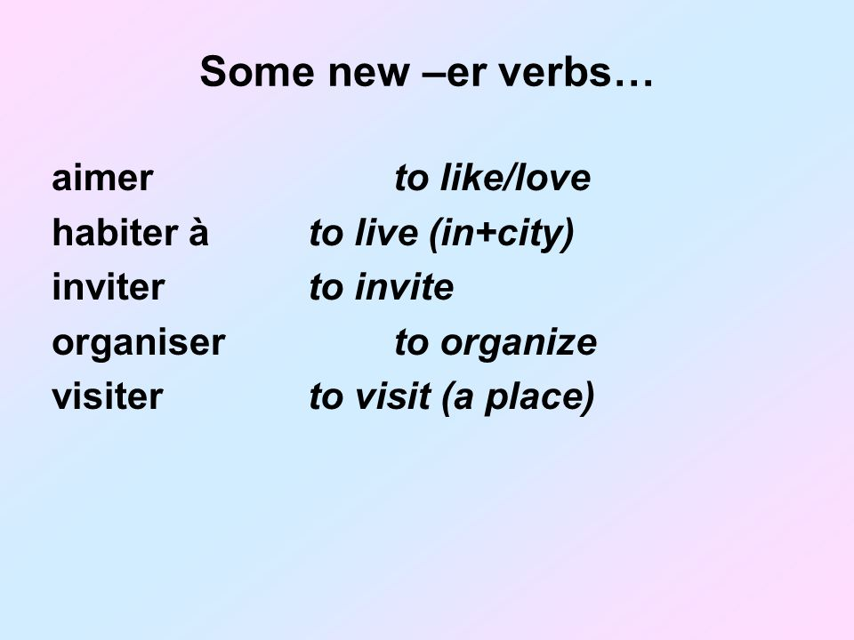 Some new –er verbs… aimerto like/love habiter àto live (in+city) inviterto invite organiserto organize visiterto visit (a place)